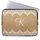 Country Burlap and white damask lace monogram Laptop Sleeve