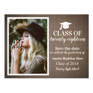 Country Burlap Class Of 2018 | Save The Date Photo Postcard