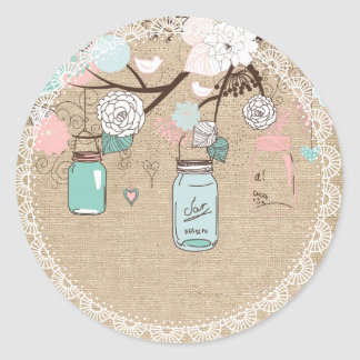 Country Burlap Mason Jar Sticker
