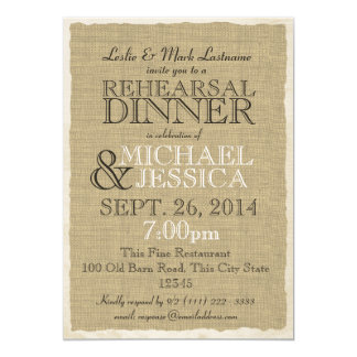 Country Burlap Rehearsal Dinner Card