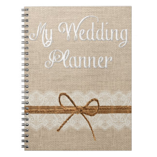Country Burlap Twine Wedding Planner Notebook