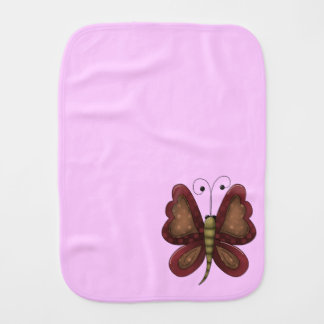 Country Butterfly Pink Girls Burp Cloth