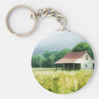 Country Cabin Basic Round Button Key Ring