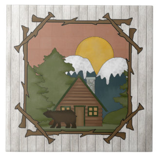 Country Cabin Cartoon fun tile