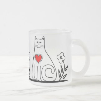 Country Cat Frosted Glass Mug