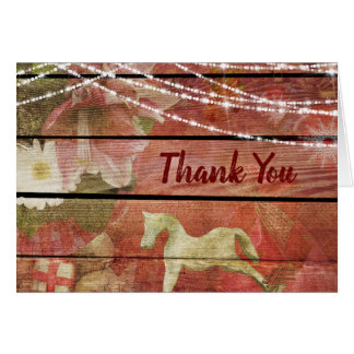 Country Charm Flowers Rocking Horse Thank You Card