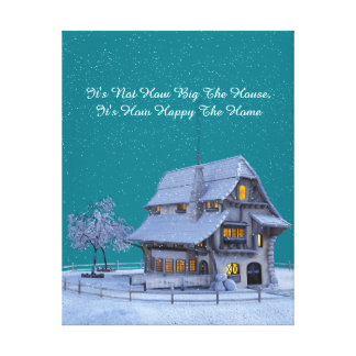 """Country Chateau in Winter Scene """"Happy Home"""" Quote Canvas Print"""