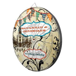 Country Chic Aqua Bunting Vintage Chandelier Dart Dartboard