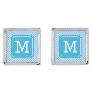 Country Chic Baby Blue Gingham Monogram Silver Finish Cuff Links