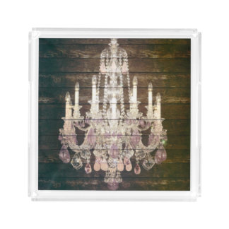 Country chic barn wood Rustic vintage chandelier Acrylic Tray