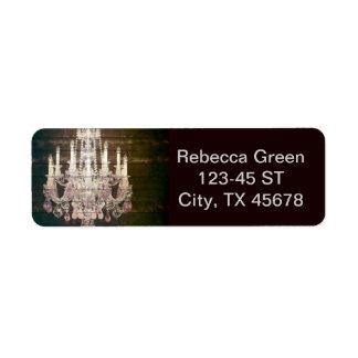 Country chic barn wood Rustic vintage chandelier Return Address Label