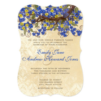 Country Chic Blue Yellow Cherry Blossom Invite