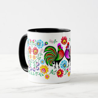Country Chic Colorful Rooster Pattern Mug