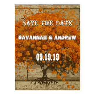 Country Chic Coral Tree Old Wood Save the Date Postcard