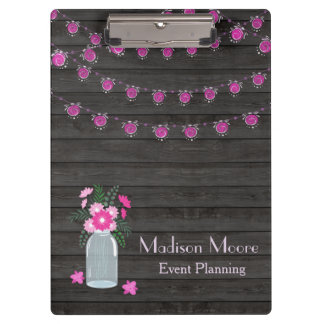 Country Chic Light Strings Event Planner Clipboard