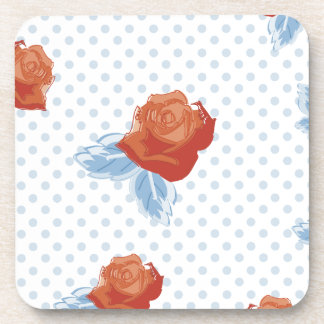 country chic,orange red,pale blue, polka dot,roses coasters