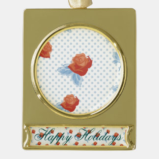 country chic,orange red,pale blue, polka dot,roses gold plated banner ornament