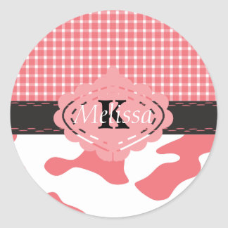 Country Chic Pink Cow & Plaid Monogram Classic Round Sticker