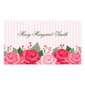 Country Chic Pink Roses and Stripes Business Card