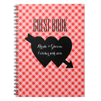 Country chic red gingham pattern wedding guestbook spiral notebook