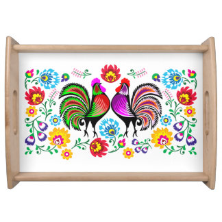 Country Chic Rooster Flower Pattern Serving Tray