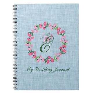 Country Chic Wreath Monogram Wedding Journal Spiral Note Books