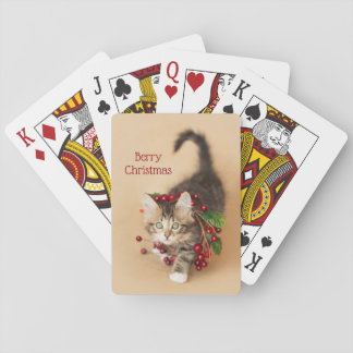 Country Christmas Berry Kitten Playing Cards