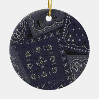 Country Christmas Blue Bandana Ceramic Ornament