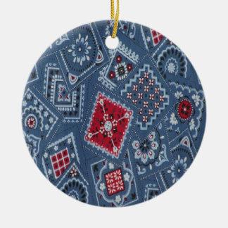 Country Christmas Blue Bandana Round Ceramic Decoration