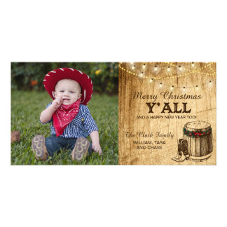 Country Christmas Card - Cowboy Boots and Lights