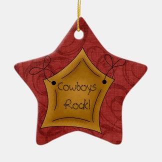 Country Christmas Cowboys Rock Star Ceramic Ornament
