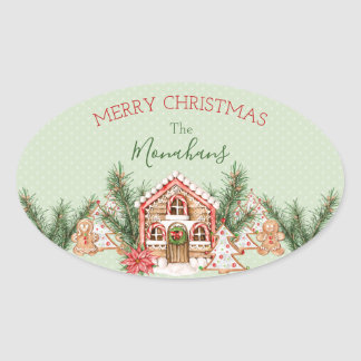 Country Christmas Gingerbread House Oval Sticker