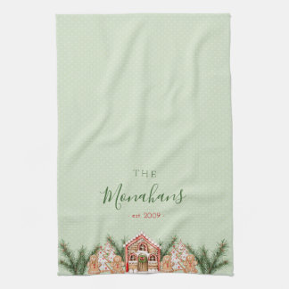 Country Christmas Gingerbread House Tea Towel