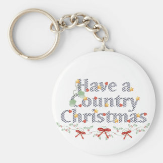 Country Christmas Basic Round Button Key Ring