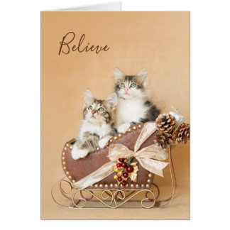 Country Christmas Kittens Sleigh Card