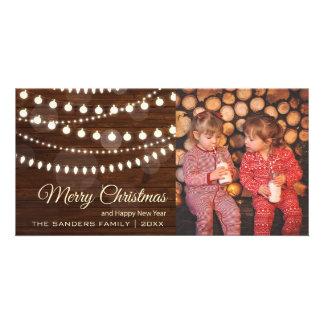 Country Christmas Lights | Rustic Wood Christmas Photo Card Template