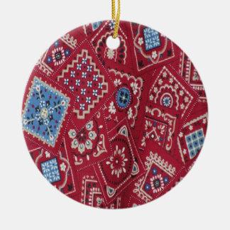 Country Christmas Red Bandana Round Ceramic Decoration