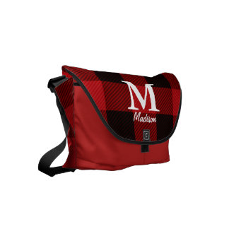 country Christmas Red buffalo plaid lumberjack Commuter Bags