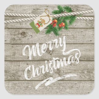 Country Christmas Rope, Berries, Wood ID436 Square Sticker