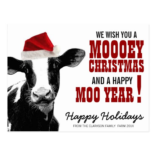 Country Christmas Santa Cow Post Cards