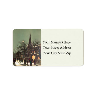 Country Christmas Services Vintage Address Label