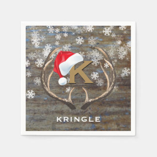Country Christmas Snowflake Santa Hat Antlers Name Disposable Napkin