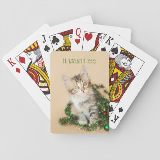 Country Christmas Tangled Up Kitten Playing Cards