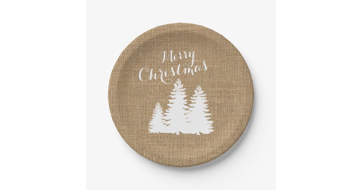 Country Christmas Trees Burlap 7 Inch Paper Plate
