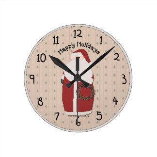 Country Christmas Wall Clock