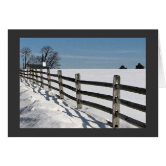 Country Church and Fence Winter Solstice Greeting Card