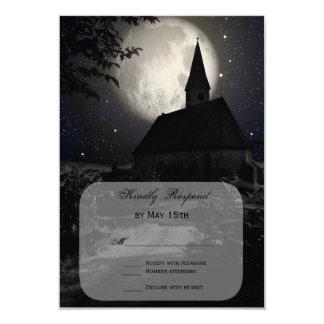 Country Church Full Moon Wedding RSVP Cards 9 Cm X 13 Cm Invitation Card