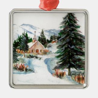 Country Church in Winter Watercolor Mountain Scene Silver-Colored Square Decoration