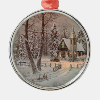 Country Church Scene Christmas Tree Ornament