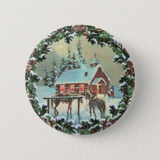 COUNTRY CHURCH & WREATH by SHARON SHARPE 6 Cm Round Badge